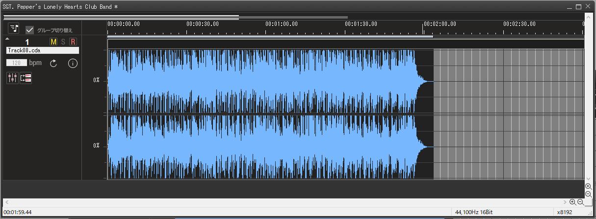 4.曲の取り込みが完了すると、波形データが表示されます。