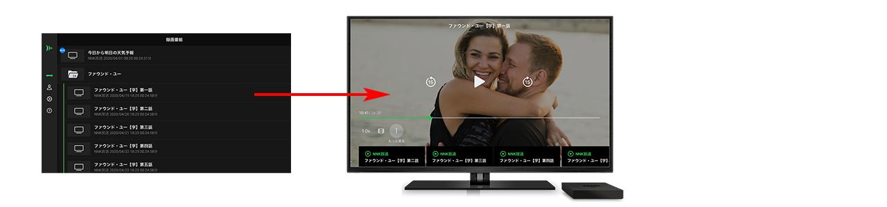 2.視聴したいテレビ番組名を選択すると、テレビ番組の再生が開始されます。